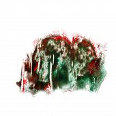 stain with watercolour burgundy, green paint stroke watercolor i