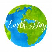 stock photo of save earth  - Earth day poster with watercolor paint texture hand drawn globe vector illustratio - JPG