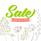 Spring sale vector banner design. Green text on white background with stems, plants and nature decor