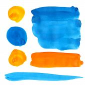 Blue and orange gouache paint stains and strokes. Bright vibrant color design elements isolated on w