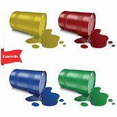 Spilled liquid. Metal multicolored barrels. Steel cans.