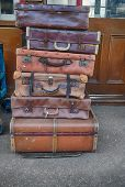 Pile of old suitcases