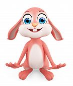pic of laughable  - 3d illustration of Easter Bunny with funny pose - JPG