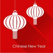 Chinese New Year Card With Hanging Lanterns, Vector Illustration