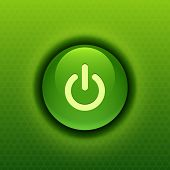 Realistic glossy green power button