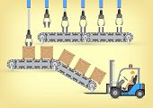 picture of forklift  - Forklift working with wood crate and transfer belt - JPG