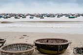 Traditional Boats On The Beach Vietnam