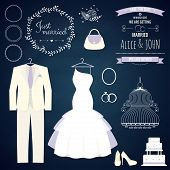 Wedding dresse and groom suit with different accsessories and attributes