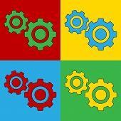 Pop Art Settings Simbol Icons.
