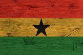 Ghana National Flag Painted Old Oak Wood