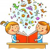 picture of sketch book  - Children reading a book and learning many new things - JPG