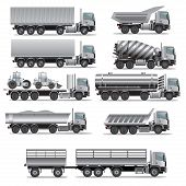 picture of dump_truck  - Set of truck for cargo transportation - JPG