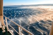 Stormy sea with strong wind