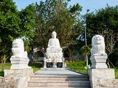 The Statue Of Buddha With Lions Linh Ung Pagoda, Da Nang, Vietnam