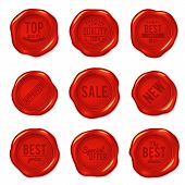 Set Of Vector Red Wax Seals Isolated On White. Premium Quality, Best Choice, Special Offer, New, Bes