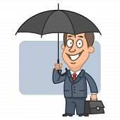 Businessman holding an umbrella and suitcase
