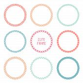 Hand drawn color circle frames of geometric patterns