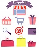 Set of flat design concept icons for shopping. Vector illustration