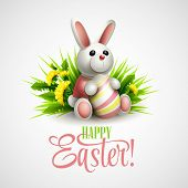 Easter card with bunny, eggs and flowers. Vector illustration