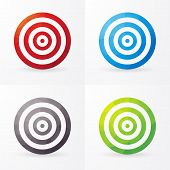 Set Of Colored Targets Isolated On A White Background