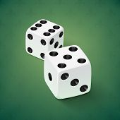 Realistic white dice icon on green background.