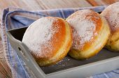 Sweet Homemade Donuts In Wooden Box.