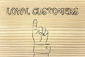 Hand Pointing At The Writing Loyal Customers