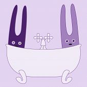 foto of tapping  - Two cute bunnies sitting in bath with water dripping from tap - JPG