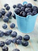 Blueberries In A Bucket On A Wooden Table.