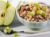 Bowl Of Muesli And  Apple For A Nealthy Breakfast