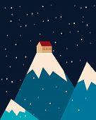 House in the mountains. Snow in the night sky. Vector illustration