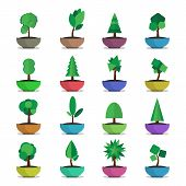 pic of bonsai  - bonsai trees vector  icons set japanese style - JPG