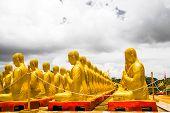 stock photo of buddha  - Golden Buddha at Buddha Memorial park Nakorn nayok Thailand - JPG