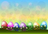 Greeting Card For Easter With Ornament From Eggs And Spring Flowers On Lawn.