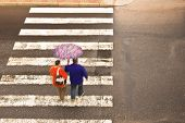 picture of pedestrian crossing  - couple on the pedestrian crossing in the bad weather - JPG