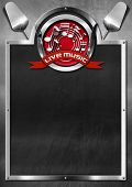 pic of musical symbol  - Blackboard with metal frame and symbol of live music with cutlery and kitchen utensil - JPG
