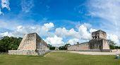 Huge Panorama Of Mayan Ball Game Field. At Chichen Itza, Traveling Riviera Maya, Mexico Adventure.
