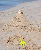 Creative Sand Castle on white sand beach in Busselton