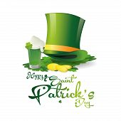 an isolated traditional hat text golden coins a glass of beer and clovers