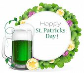 Leprechaun Green Beer With Coins And Clover