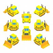 Isometric yellow bulldozer