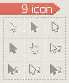 Vector black cursor icon set