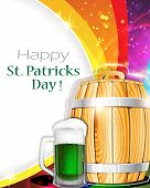 Beer Glass And Barrel On Rainbow Background