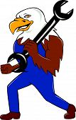 American Bald Eagle Mechanic Wrench Cartoon