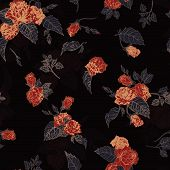 Seamless Floral Pattern With Outline Roses