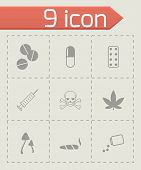 stock photo of bong  - Vector black drugs icon set on grey background - JPG