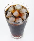 image of coca-cola  - cold drink with ice cubes on white background - JPG