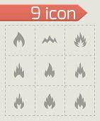 Vector black fire icon set