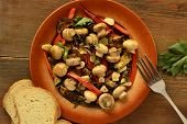 Salad with mushrooms, roasted eggplant and peppers