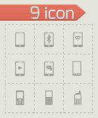 Vector black mobile icons set